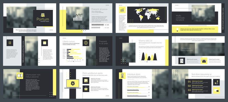 Powerpoint and keynote presentation slides design template. Elements of infographics for presentations templates, annual report, leaflet.