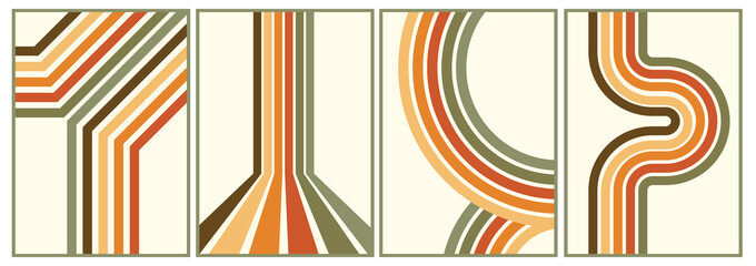 retro vintage 70s style stripes background poster lines. shapes vector design graphic 1970s retro background. abstract stylish 70s era line frame illustration