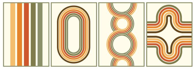 Fototapeta retro vintage 70s style stripes background poster lines. shapes vector design graphic 1970s retro background. abstract stylish 70s era line frame illustration obraz