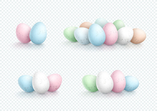 Easter Egg Pile Vector Elements Speckled 3d Isolated Sets