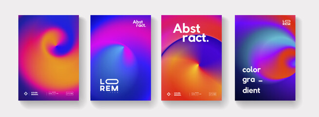 Fototapeta Set of Abstract Futuristic Swirl Gradient Posters. Modern Colorful Backgrounds Collection. Trendy minimal backdrop for Placard, Cover, Banner. obraz