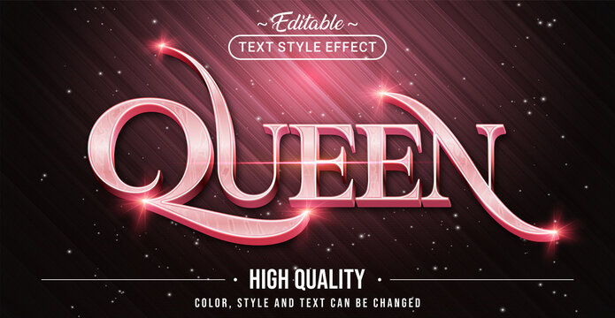 Editable text style effect - Queen with Rose Pink text style theme. Graphic Design Element.