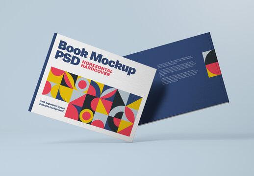 Horizontal Book Hardcover Mockup