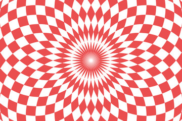 Vector illustration of checkered pattern with optical illusion. Op art abstract background.