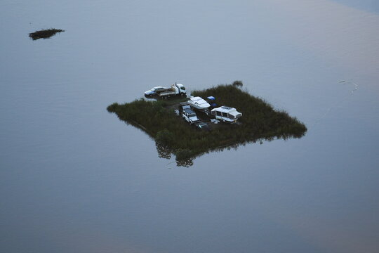 Flood affected areas are seen from a helicopter in the Windsor area near Sydney