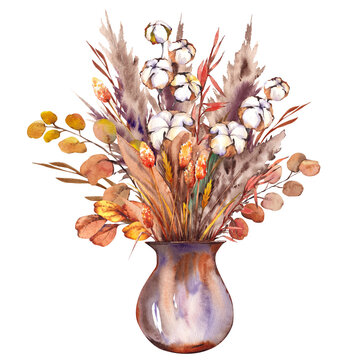 Bohemian bouquet with pampas grass, eucalyptus and cotton plants in vase.