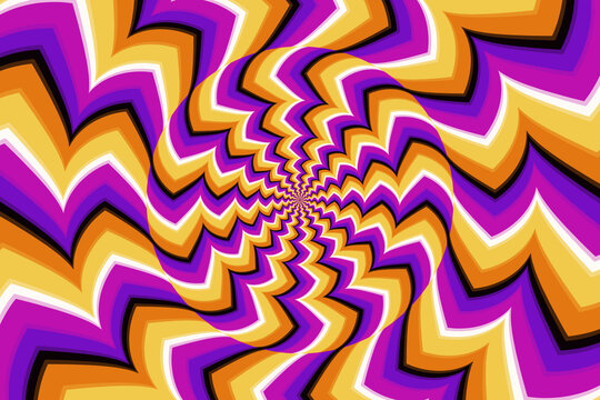 Psychedelic optical illusion. Hypnotic surreal abstract background. Vector illustration.