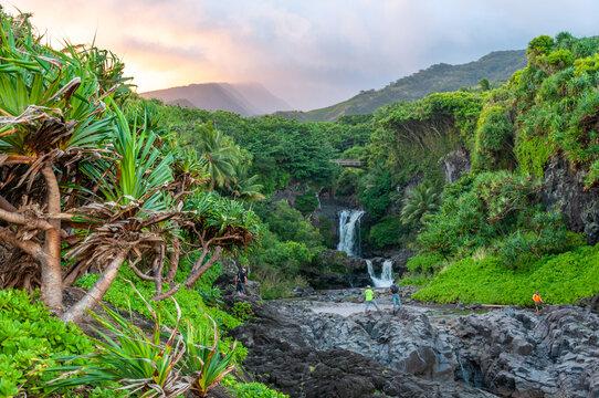 Waterfall on the Road to Hana at Sunset, Maui, Hawaii