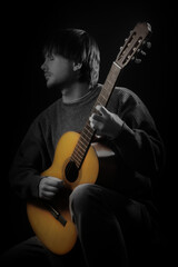 Acoustic guitar player. Classical guitarist playing guitar