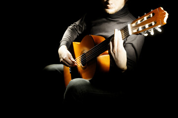 Acoustic guitar player classical guitarist playing