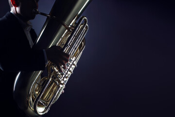 Tuba player brass instruments. Hands playing euphonium