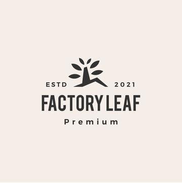 factory leaf tree hipster vintage logo vector icon illustration