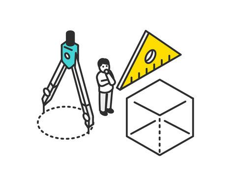 算数の授業のイメージイラスト素材