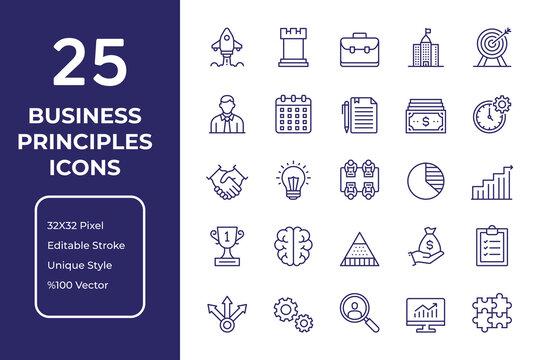 Business Principles Editable Stroke Thin Line Icon Set