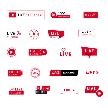 Live streaming icons set. Red symbols and buttons of live streaming, broadcasting, online stream. third template for tv, shows, movies and live performances. Vector illustration.