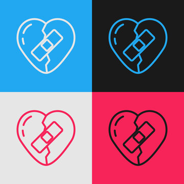 Pop art line Healed broken heart or divorce icon isolated on color background. Shattered and patched heart. Love symbol. Valentines day. Vector