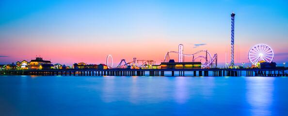 Galveston Island historic Pleasure Pier on the Gulf of Mexico coast in Texas.