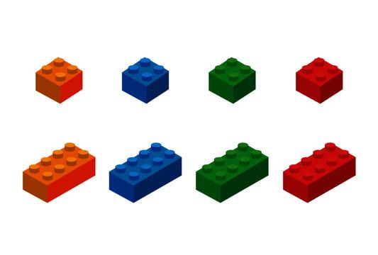 Lego - Lego Pieces Coloured Blocks- Orange, Blue, Green, Red - 3D Vector Illustration - Construction - Building Blocks Toys - Colourful Building Blocks Toys