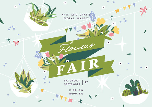 Flower show announcing poster template. Text customized for invitation to event. Garden party layout with fancy flowers in folk painting style. Vector illustration.