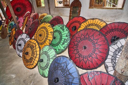 Umbrellas display at Inle Lake, Myanmar (Burma)