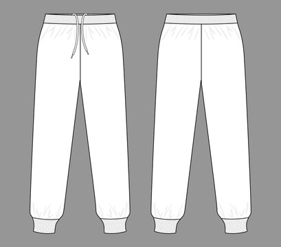 White Tracksuit Pants Template Vector On Gray Background.Front And Back View.