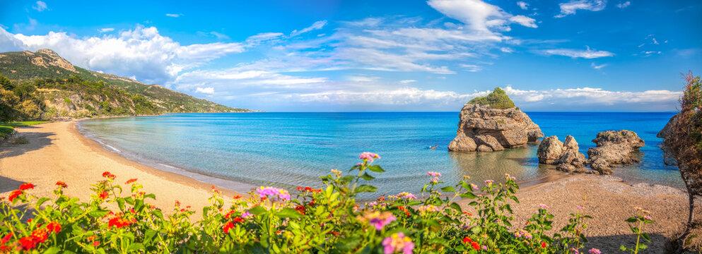Panorama of Porto Zorro beach against colorful flowers on Zakynthos island, Greece