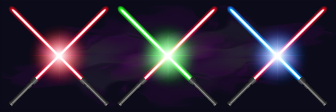 Set of bright crossed lightsabers, red, green, and blue, against a dark foggy background