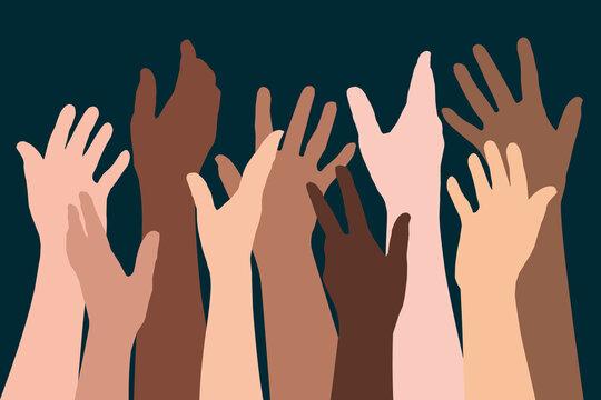 Concept de la fraternité humaine, avec des silhouettes de mains levées de différentes ethnies, pour symboliser la diversité et la lutte contre le racisme.