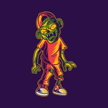 t shirt design zombie walking dragging feet illustration