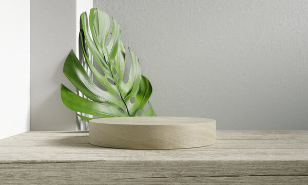 Wooden product podium, Cosmetic display stand with monstera leaf on white background. 3D rendering