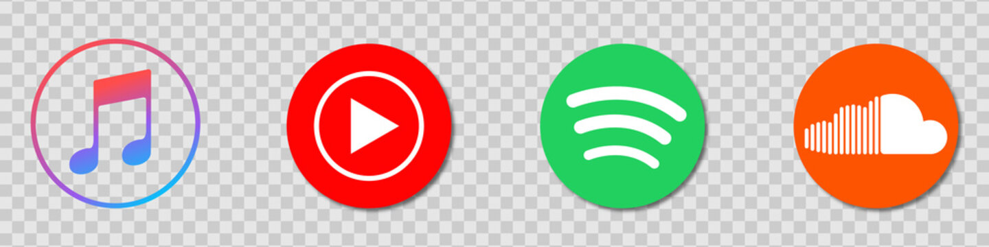 Apple Music, Spotify, YouTube Music, SoundCloud - a set of logos for popular music streaming services. Vector logos on a transparent background for your design. Stock illustration EPS 10
