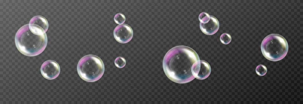 Vector soap bubble. Realistic soap bubble png, glare. Foam bubbles png. Powder, soap, detergent. Vector image.