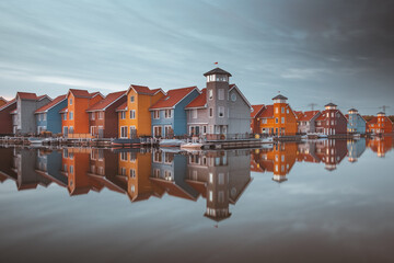 Colourful houses of Reitdiephaven in Groningen, the Netherlands.
