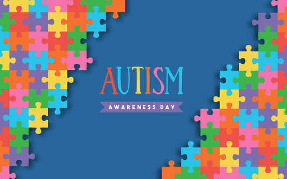 Autism awareness day colorful paper cut puzzle