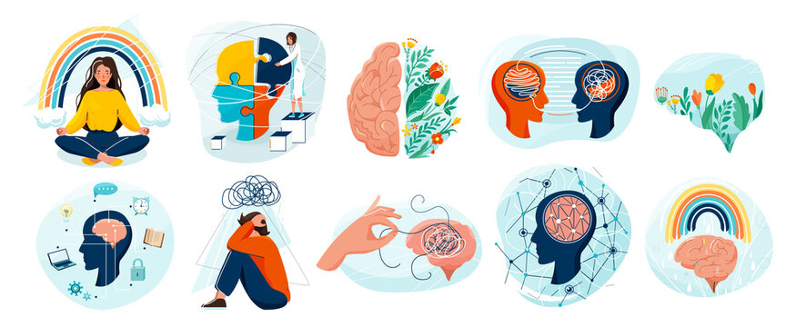 Mental health set vector background. Collection of different illustration with sad and happy people, two side brain, doctor add together puzzle of human head, psychotherapy, connection mind concept