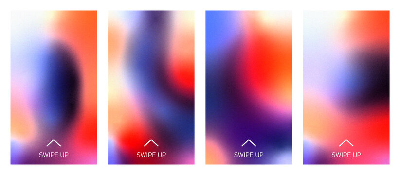 Backgrounds with swipe up symbol for social media story. Vector abstract colorful gradient template for smartphone screen, stories, landing page, website, mobile app, phone cover design. Swipe up icon