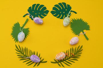 Obraz Wielkanoc kartka życzenia Alleluja Zmartwychwstanie pisanki jajka wianek - fototapety do salonu