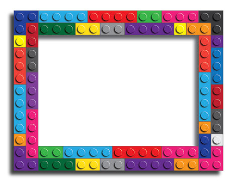 Colorful frame made from building bricks