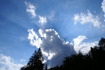 chmura oświetlona słońce niebo błękitne