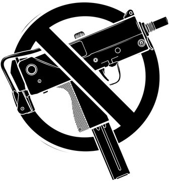 black silhouette of vector illustration no guns or firearms allowed