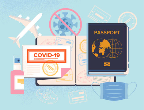 Covid-19 Passport for travel concept with vaccine and certificate