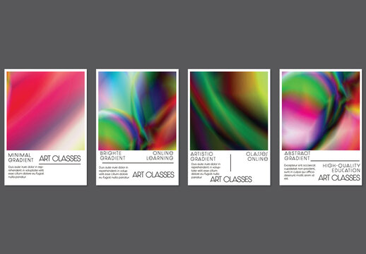 Flyer Layout with Bright Holographic Gradient Picture