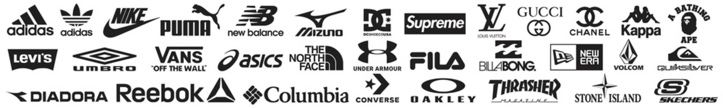 big Collection of popular clothing brands logo, Nike, adidas, gucci, Louis Vuitton, Coco Chanel, Under Armour, Puma, The North Face. skechers, Columbia Sportswear, ASICS, Converse. Vector illustration