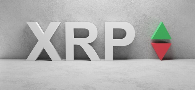 3d render of a crypto currency XRP sign on a wall, Ripple abbreviation, up and down arrows