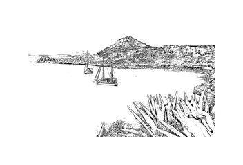 Building view with landmark of Rhodes is the  island in Greece. Hand drawn sketch illustration in vector.