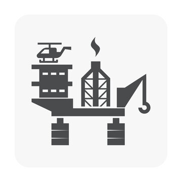 Oil platform or offshore drilling rig vector icon. Equipment of petroleum industry for supply fossil fuel, crude, natural gas and resource from oil well. By exploration, extraction and production.