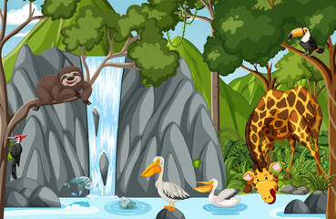Wild animal cartoon character in the forest scene