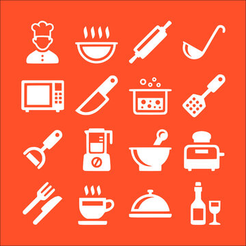 icon set of cooking and kitchen background vector icons collection of symbol, logo, pictogram linear flat simple ui stroke sign hand drawn lined graphic design