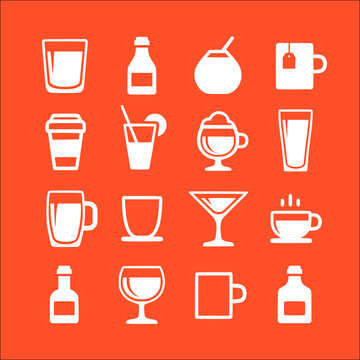 icon set of drink and beverage vector icons collection of symbol, logo, pictogram linear flat simple ui stroke sign hand drawn lined graphic design