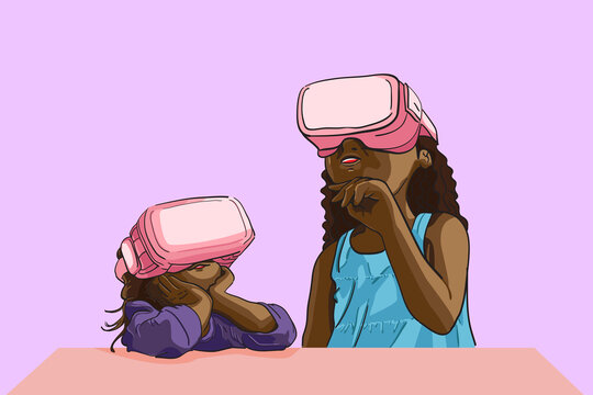 Little girls wearing virtual reality device (VR), kids learning how to use vr device and interesting,student studying vr in imagination, content for contributor, flat vector illustration.